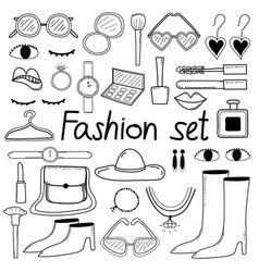 line hand drawn doodle fashion set vector image