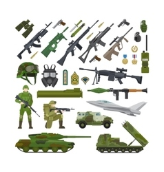 Military army flat icons vector image