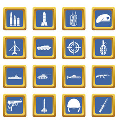 military icons set blue vector image