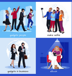 office home gadgets 4 flat icons vector image vector image