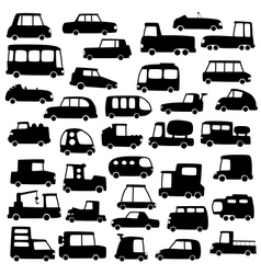 set of cartoon cars silhouettes vector image vector image