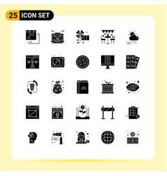25 universal solid glyph signs symbols party vector