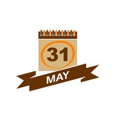 31 may calendar with ribbon vector