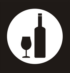 a of a wine bottle and glass vector image