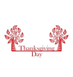 Abstract red trees on the Thanksgiving Day vector