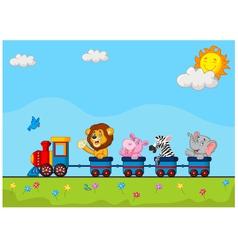 Animals on train vector