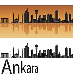 Ankara skyline in orange background vector image