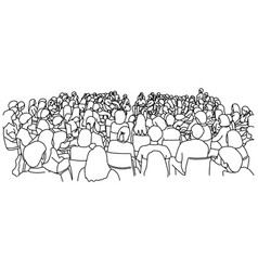 Audience in lecture hall sketch vector