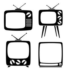 black various retro tv silhouette set vector image