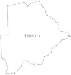 Black White Botswana Outline Map vector image
