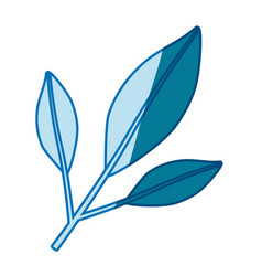 Blue silhouette of branch with leaves in closeup vector