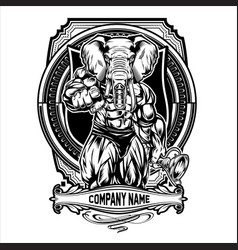 Bodybuilder elephant fitness gym muscle vector