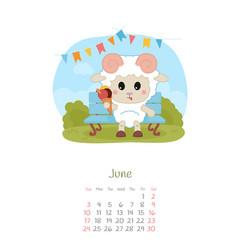 Calendar 2018 months june with sheep vector