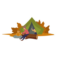 camping people bonfire character in tent and vector image