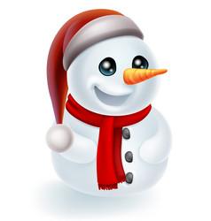 Christmas snowman in santa hat vector