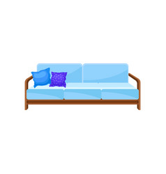 comfortable light blue sofa with pillows living vector image