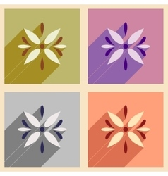 Concept flat icons with long shadow Arabic flower vector