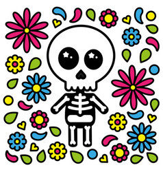 Cute skeleton character day of the dead flowers vector