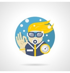 Diver leisure color detailed icon vector image