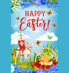 easter eggs chick and lamb god with cross vector image