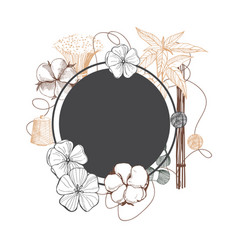 Fiber plants frame with hand drawn flowers vector