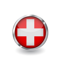 Flag of switzerland button with metal frame and vector