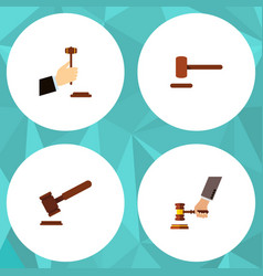 Flat icon hammer set of justice law crime and vector