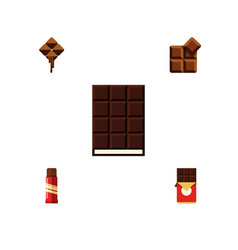 flat icon sweet set of cocoa delicious dessert vector image