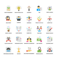 Flat icons set of business and management vector