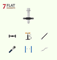 Flat service set of ratchet pipeline wheel pump vector