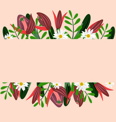 floral border with red flowers vector image