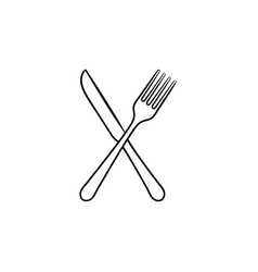 fork and knife hand drawn sketch icon vector image