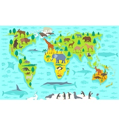 Funny cartoon world map vector image