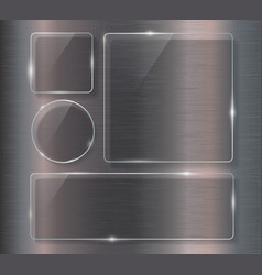 glass banner set on steel metallic background vector image