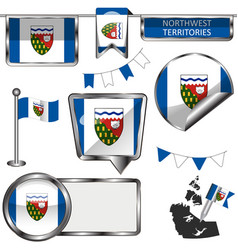 Glossy icons with flag province northwest vector