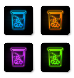 glowing neon glass with water icon isolated on vector image