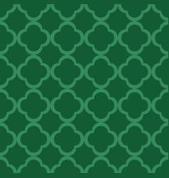 green quatrefoil outline ornamental pattern vector image
