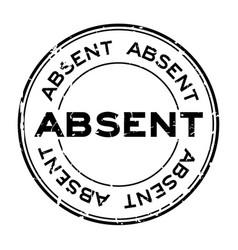 Grunge black absent word round rubber seal stamp vector