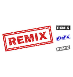 Grunge remix scratched rectangle stamps vector