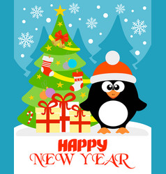 happy new year card with funny penguin vector image