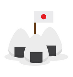 Isolated onigiri with a flag vector