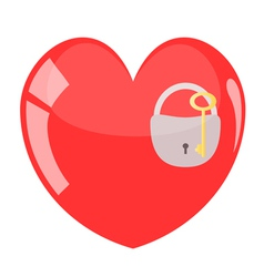 Key and padlock in red heart vector