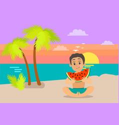 Kid eating watermelon on beach summertime vector