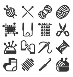 Knitting hand made icons set on white background vector