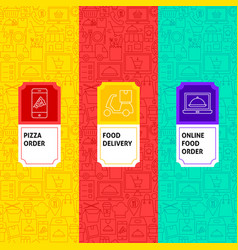 line food delivery package labels vector image