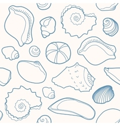 Marine seamless pattern with shells vector image