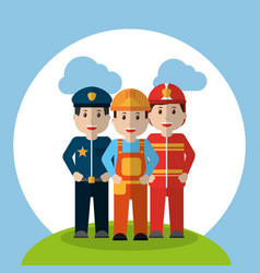 Men workers - policeman fireman and foreman vector