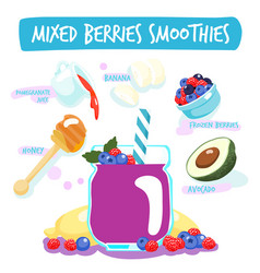 Mixed berries delicious healthy smoothies vector