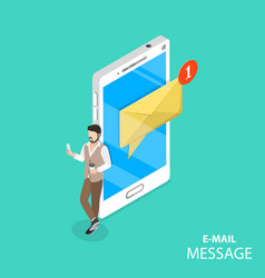 Mobile e-mail notification flat isometric vector