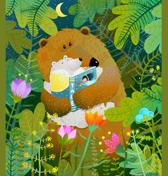 Mother bear reading book to cub baby in forest vector